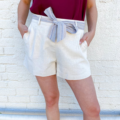 Punchy's Cream Linen Shorts with Striped Belt
