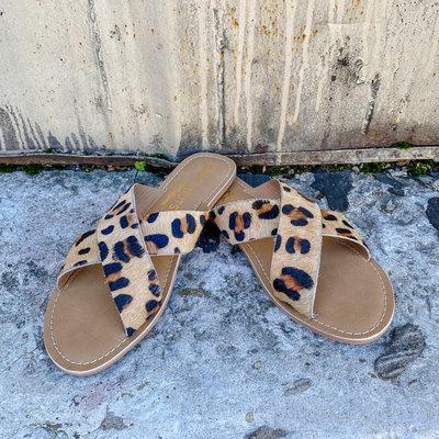 Punchy's Criss Cross Leopard Cowhide Sandal