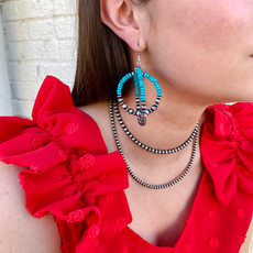 Punchy's Double Round Navajo Pearl Hoops with Turquoise Earrings