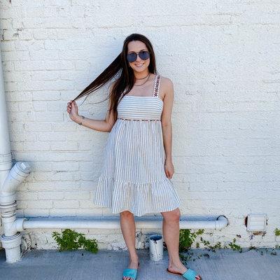 Punchy's Embroidered Striped Midi Dress