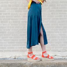 Punchy's Emerald Slit Satin Midi Skirt