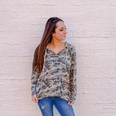 Punchy's High Low Hemmed Camo Hoodie