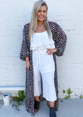Punchy's Leopard Print Bubble Sleeve Duster
