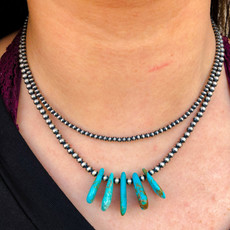 Punchy's 4mm 17in 5 Teardrop Turquoise Navajo Pearl Necklace