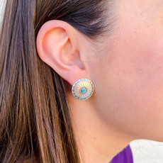 Punchy's Medium Round Sterling Silver Studs Feathers with Turquoise