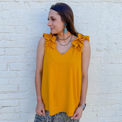 Punchy's Mustard Ruffle Sleeve Top