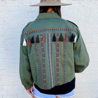 Punchy's Olive Aztec Stripe Tassel Jacket