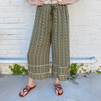 Punchy's Olive Green and White Printed Wide Leg Pant