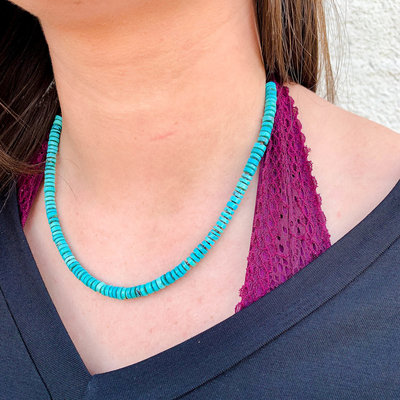 "Punchy's 18"" Smooth Turquoise Heishe Necklace"