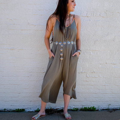 Punchy's Olive Green Jumpsuit with Orange Stitching