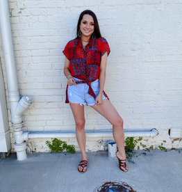 Punchy's Red Bandanna Cap Sleeve Top