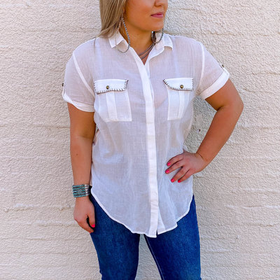 Punchy's Short Sleeve Safari White Button Up