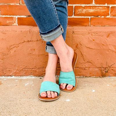 Punchy's Cabana Teal Slide Sandal