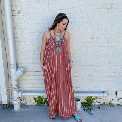 Punchy's Vintage Red and White Stripe Maxi Dress with Pockets