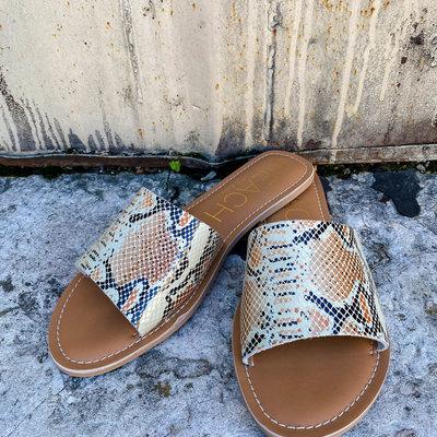 Punchy's White Snakeskin Slide Sandal