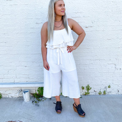 Punchy's White Tiered Tie Front Jumpsuit