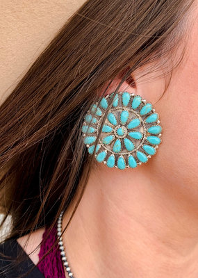 Punchy's Round Turquoise Cluster Stud