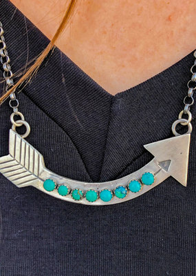 Punchy's Turquoise Arrow Bar Necklace