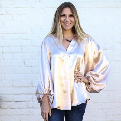 Punchy's Champagne Satin Bubble Sleeve Blouse