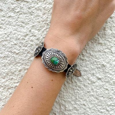 Punchy's Leather Turquoise Concho Bracelet