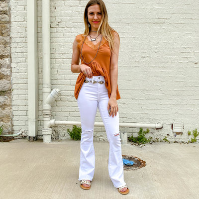 Punchy's White Distressed Flare Jeans