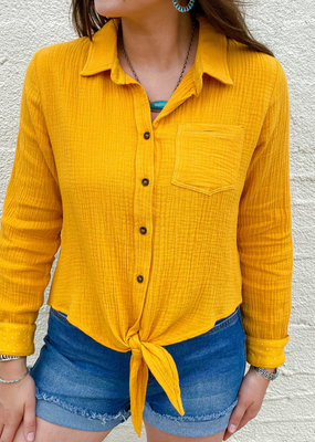 Punchy's Long Sleeve Mustard Front Tie Shirt