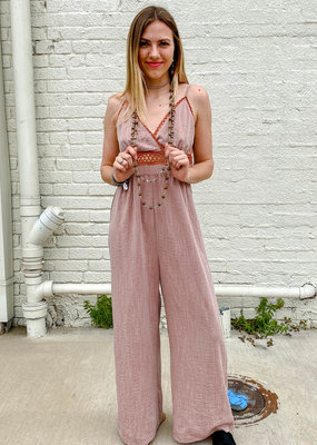 Punchy's Vintage Rust V Neck Jumpsuit with Trim Detail