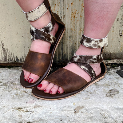 Punchy's Cowhide Strappy Sandal