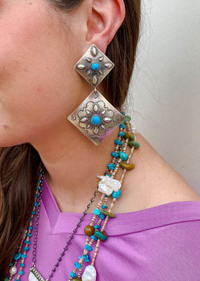 Punchy's Double Diamond Concho Post with Turquoise