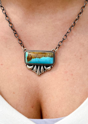 "Punchy's 22"" Sydney Turquoise Bar Necklace"