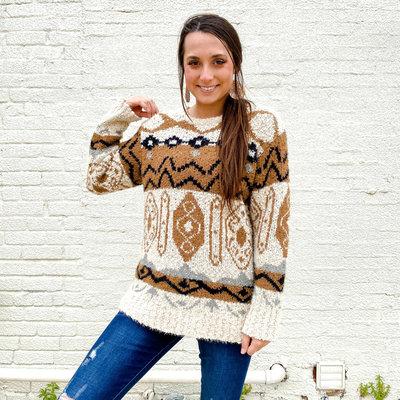 Punchy's Beige Aztec Sweater