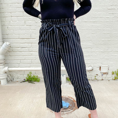 Punchy's Black Belted and Striped Crop High Waisted Pant