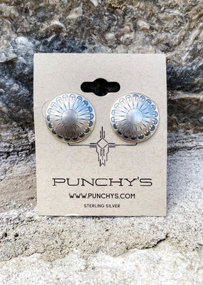 Punchy's Medium Round Sterling Silver Feather Studs