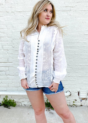 Punchy's Elegant Long Sleeve White Button Up