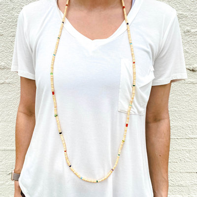 Punchy's Multi Melon Shell Heishe Necklace 50""