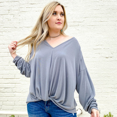 Punchy's Gray Long Sleeve Front Twist Top