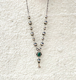 Punchy's Navajo Pearl Green Turquoise Blossom Drop Necklace