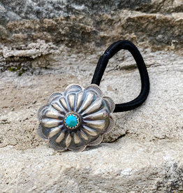 Punchy's Oval Turquoise Flower Concho Hair Tie