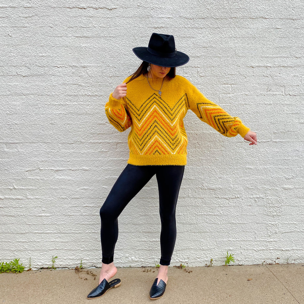 Punchy's Mustard Fuzzy Knit Sweater