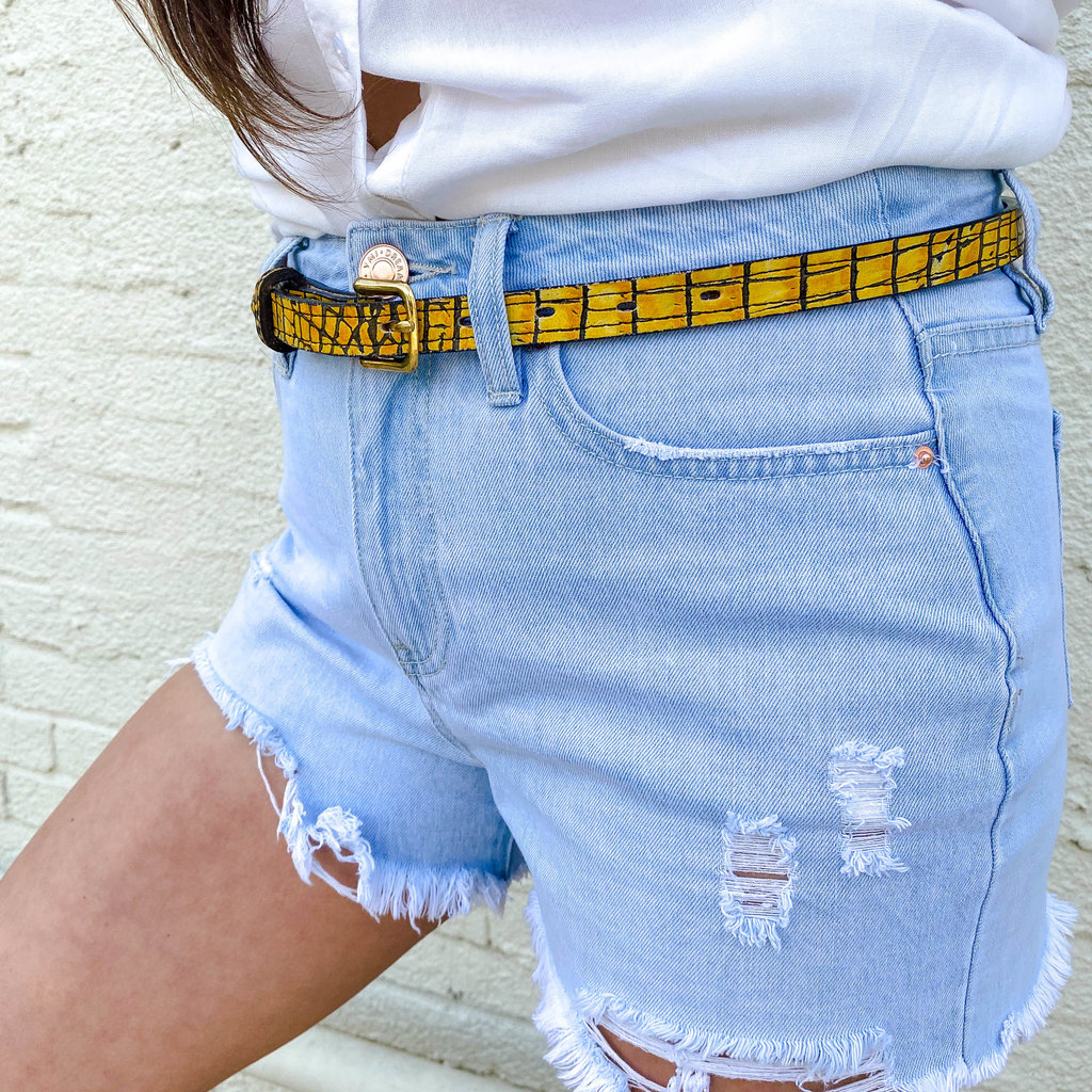 Punchy's Mustard Gator Print Leather Belt