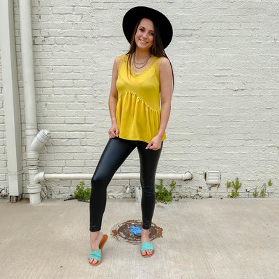 Punchy's Mustard Lace V Neck Cami
