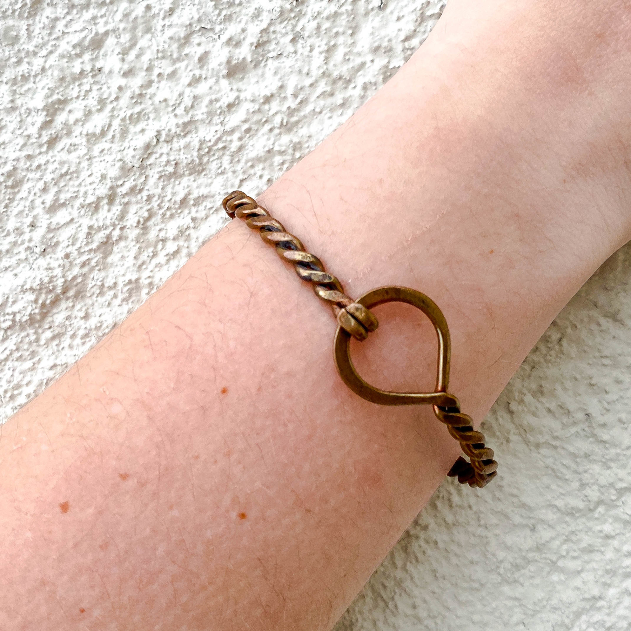 Braided Copper Bracelet With Circle