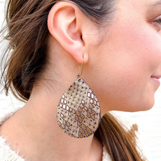 Punchy's Bronze Snake Leather Earrings