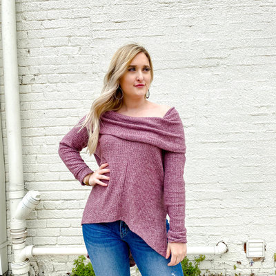 Punchy's Wine Cowl Neck Sweater