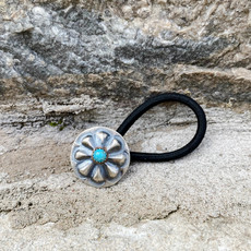 Punchy's Small Turquoise Flower Concho Hair Tie