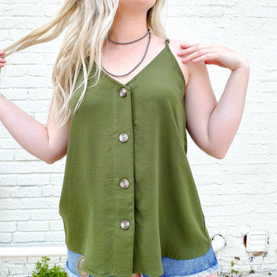 Punchy's Olive Tank with Button Detail