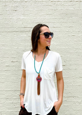 Punchy's Turquoise Necklace Serape Charm Leather Tassel