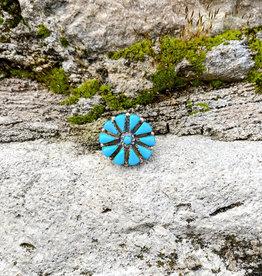 Punchy's Turquoise Needlepoint Flower Ring