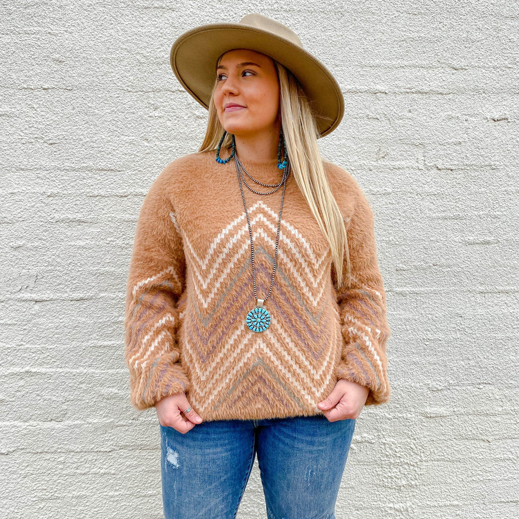 Punchy's Tan Fuzzy Knit Sweater