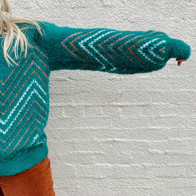 Punchy's Teal Fuzzy Knit Sweater